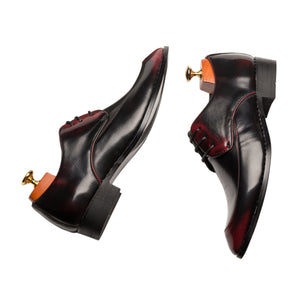 Derby Glossy Pointed Toe Grade A Leather Shoes