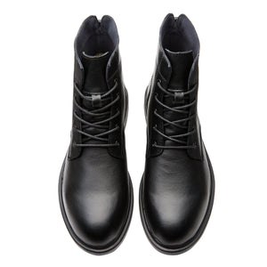 Large Size Round Toe Calfskin Leather Martin Boots Black