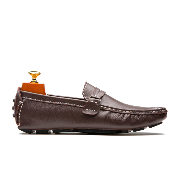 Fashionable Slip On Round Toe Calfskin Leather Shoes Loafers Brown