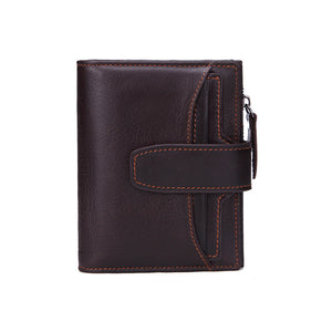 Anti-theft RFID Protected Genuine Calf Leather Wallet Hasp Clip Coin Pocket Credit Card Holder Purse