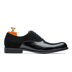 Classic Prince Style Oxford Patchwork Pointed Toe Cowskin Leather Shoes Black
