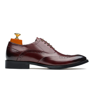 Luxury Oxford Brogue Medallion Pointed Toe Calfskin Leather Shoes Wine Red