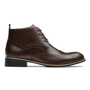 British Style Brogue Medallion Pointed Toe Genuine Leather Martin Boots Brown