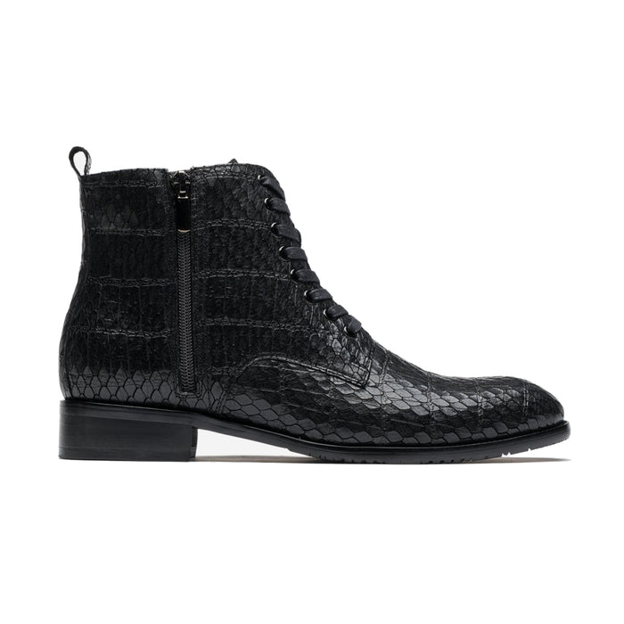 Men Zipper Alligator Pattern Grade A Leather Ankle Boots