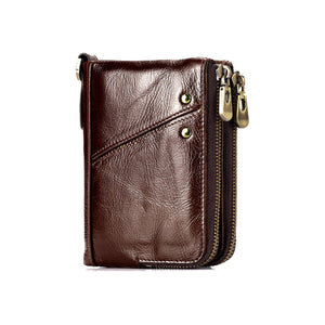 RFID Protected Genuine Cowhide Leather Men Wallet Short Coin Purse Card Holder Money Bag Coffee