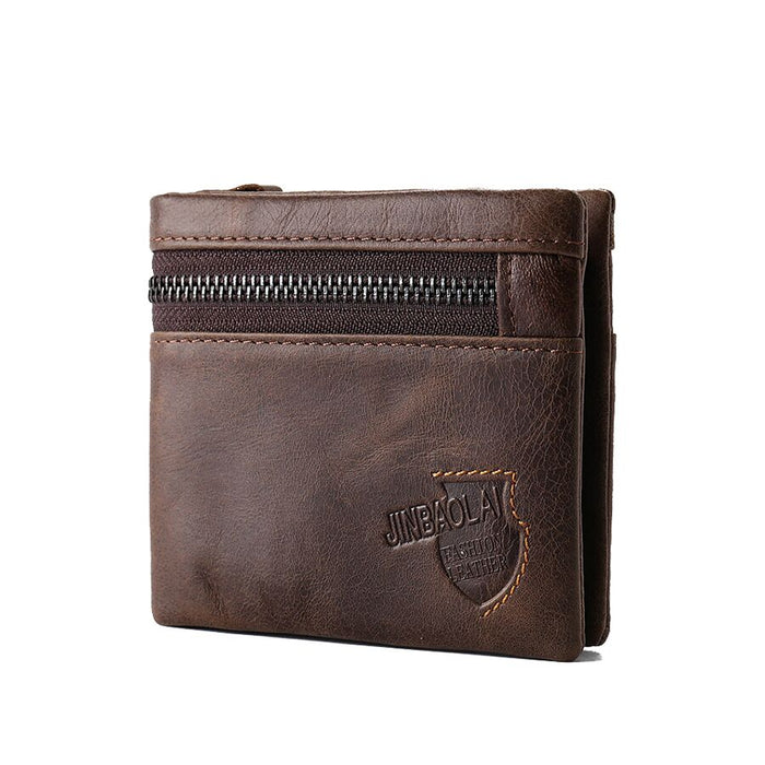 Vintage Genuine Leather Men Wallets Small Short Coin Zipper Mini Card Holder Magic Wallet Deep Brown