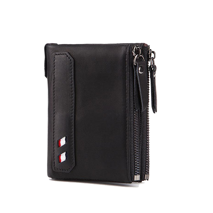RFID Protected Real Cowhide Wallet Double Zipper Clutch Cash Clip Coin Pocket Credit Card Holder Purse