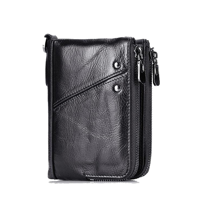 RFID Protected Genuine Cowhide Leather Men Wallet Short Coin Purse Card Holder Money Bag Black