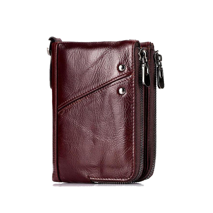 RFID Protected Genuine Cowhide Leather Men Wallet Short Coin Purse Card Holder Money Bag Red