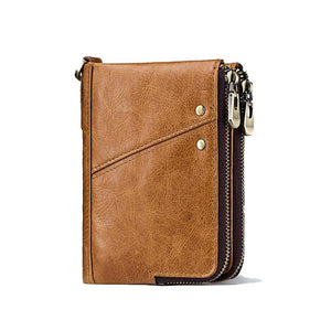 RFID Protected Genuine Cowhide Leather Men Wallet Short Coin Purse Card Holder Money Bag Brown