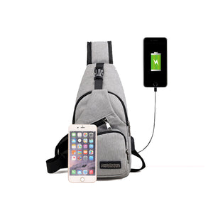 Casual Canvas Sports Men Sling Chest Pack USB Charging Shoulder Crossbody Bag