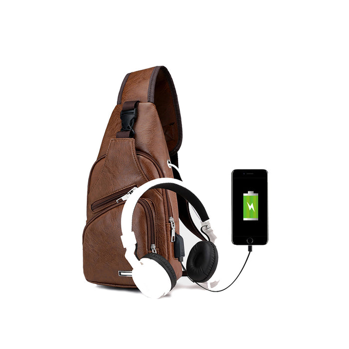 Practical USB Charging Men's Chest Bag Genuine Leather Shoulder Messenger Crossbody Bag