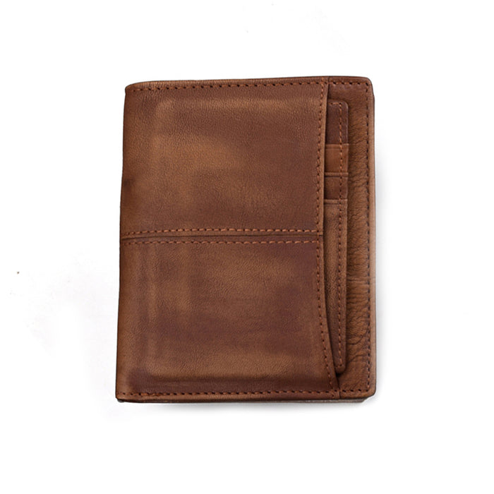 Anti-theft RFID Protected Contrast Color Genuine Cowhide Coin Wallet Multi Card Slot Purse