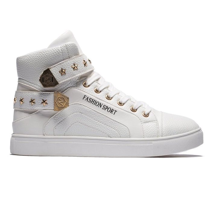 High Top Star Pattern Rivets Lace-up Shoes