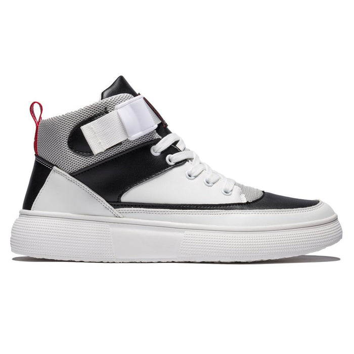 High Top Contrast Color Lace-up Leather Shoes