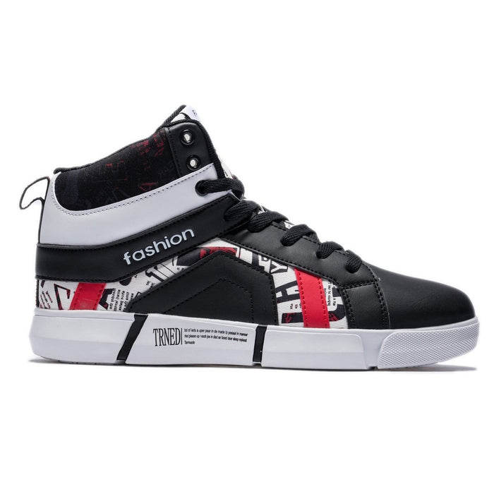 High Top Sport Style Contrast Color Lace-up Leather Shoes