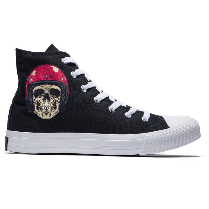 High Top Helmet Skull Pattern Lace-up Canvas Shoes