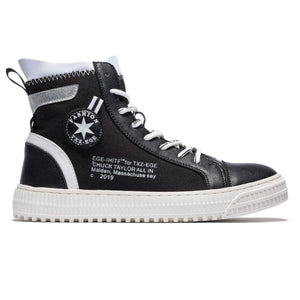 High Top English Letters Pattern Lace-up Leather Shoes