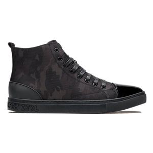 Contrast Color High Top Camouflage Pattern Lace-up Leather Shoes