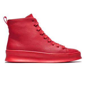 Fashion Solid Color High Top Grain Pattern Lace-up Leather Shoes
