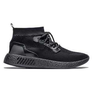Sport Style Contrast Color Lace-up Mesh Sneakers Black