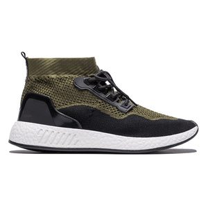 Sport Style Contrast Color Lace-up Mesh Sneakers Army Green