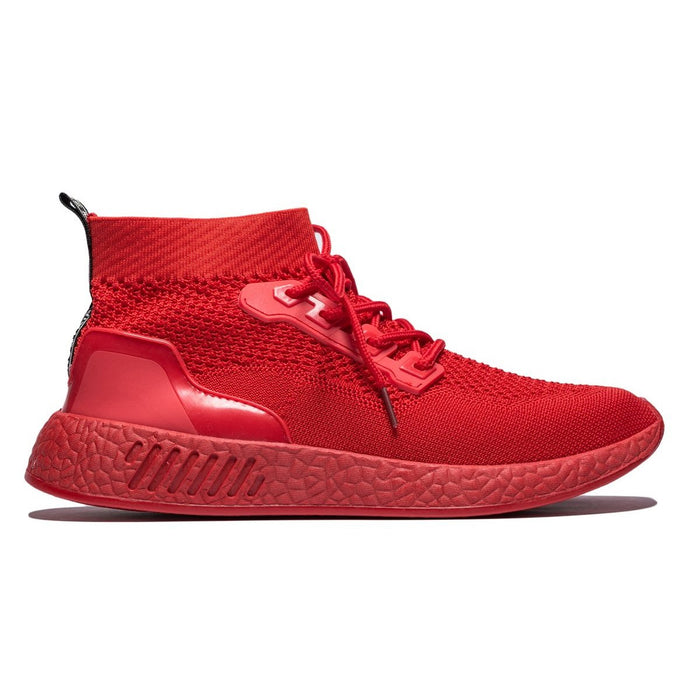 Sport Style Contrast Color Lace-up Mesh Sneakers Red
