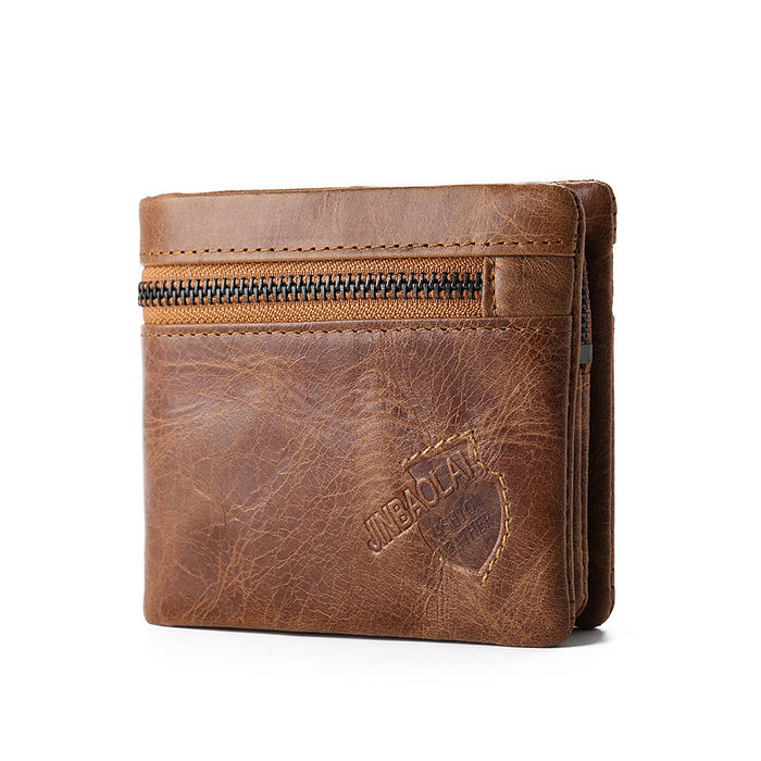 Vintage Genuine Leather Men Wallets Small Short Coin Zipper Mini Card Holder Magic Wallet Light Brown