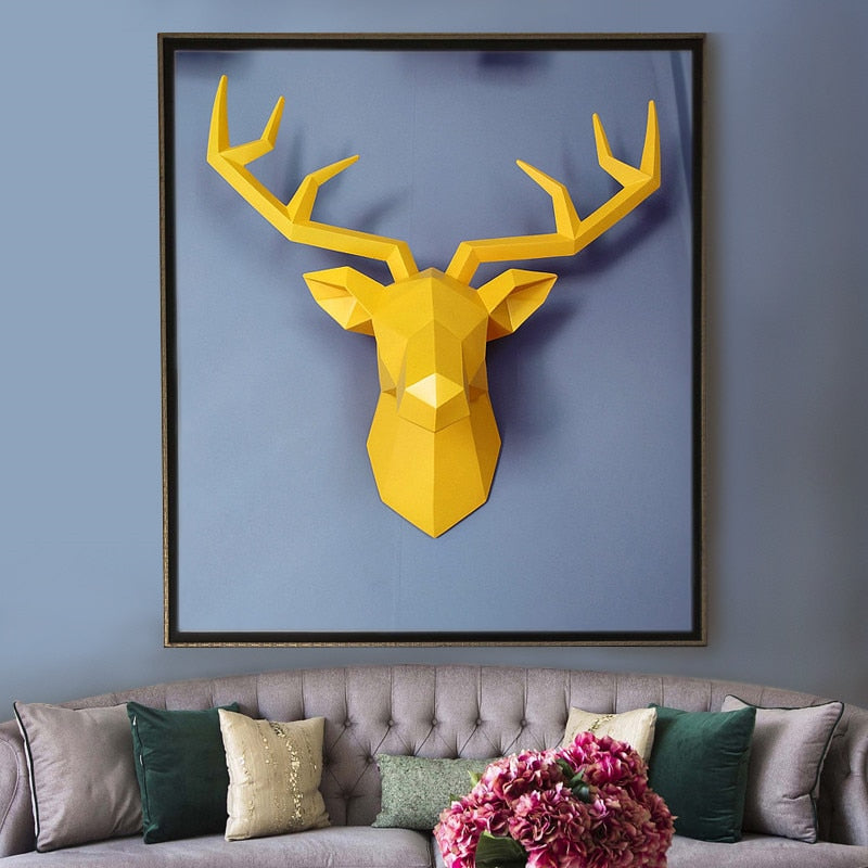 Large Size 4 Color Available New Geometry 3D Animal Deer Head Wall ...