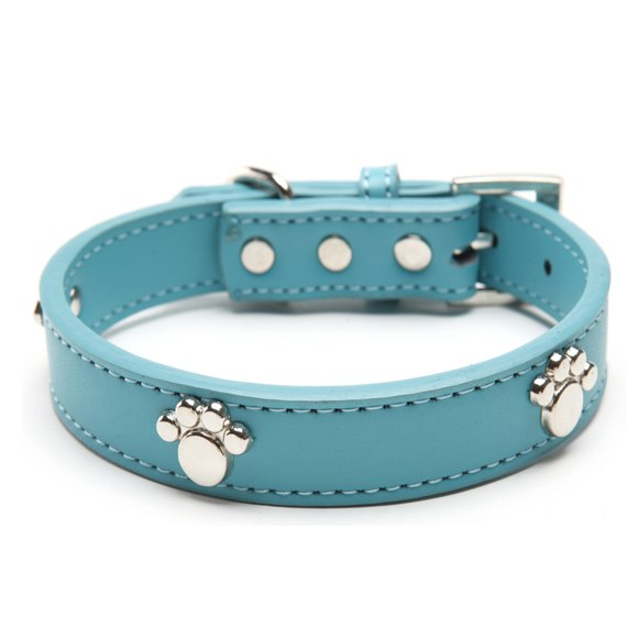 Leather Paw Studded Dog Collar