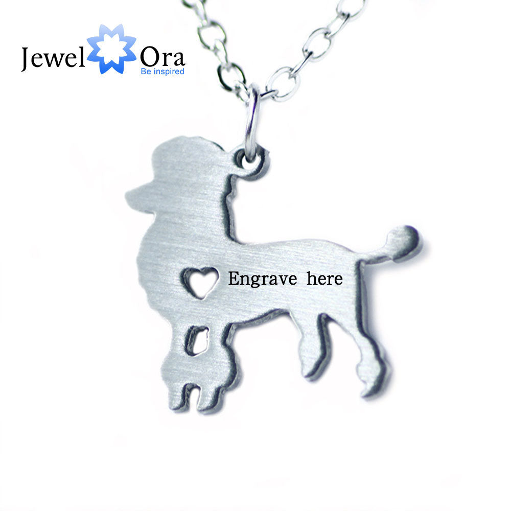 Personalized Poodles Stainless Steel Necklace