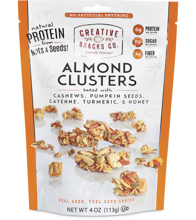 Almond Clusters: Cashews, Pumpkin Seeds, Cayenne, Turmeric and Honey