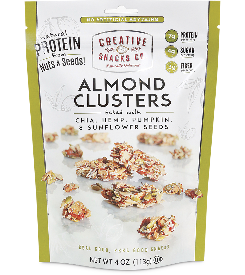 Almond Clusters: Chia, Hemp, Pumpkin Seeds, and Sunflower Seeds