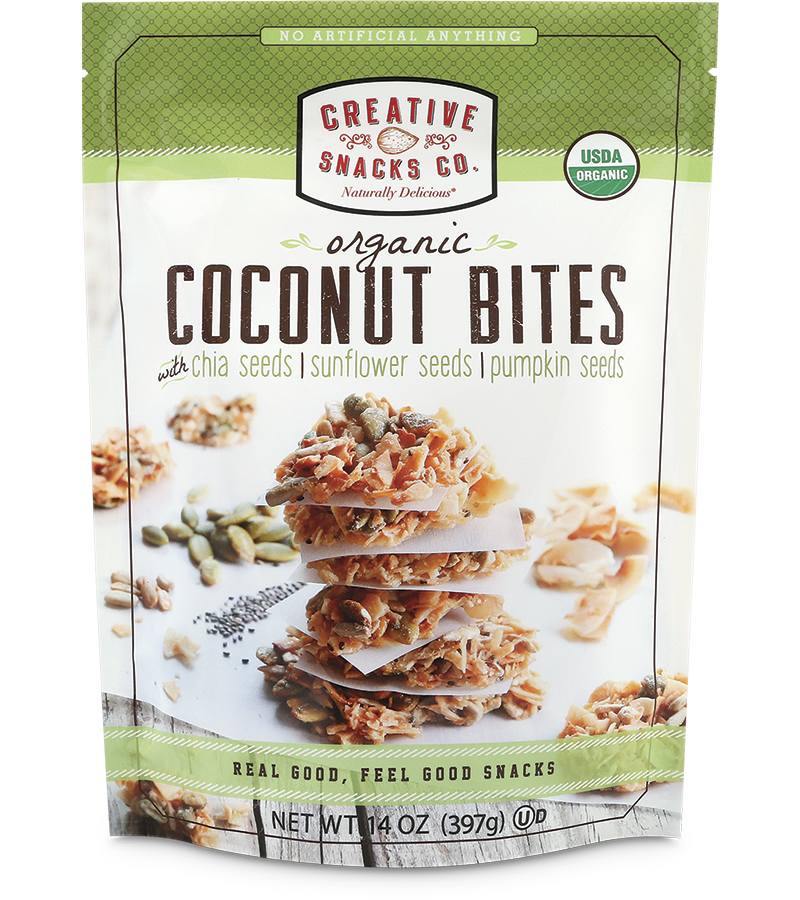 Organic Coconut Bites: Chia Seeds, Sunflower Seeds, & Pumpkin Seeds