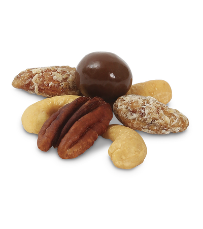Coconut Pecan Crunch: Milk Chocolate Peanuts, Roasted Salted Cashews, Coconut Macaroon Almonds, Roasted No Salt Pecans