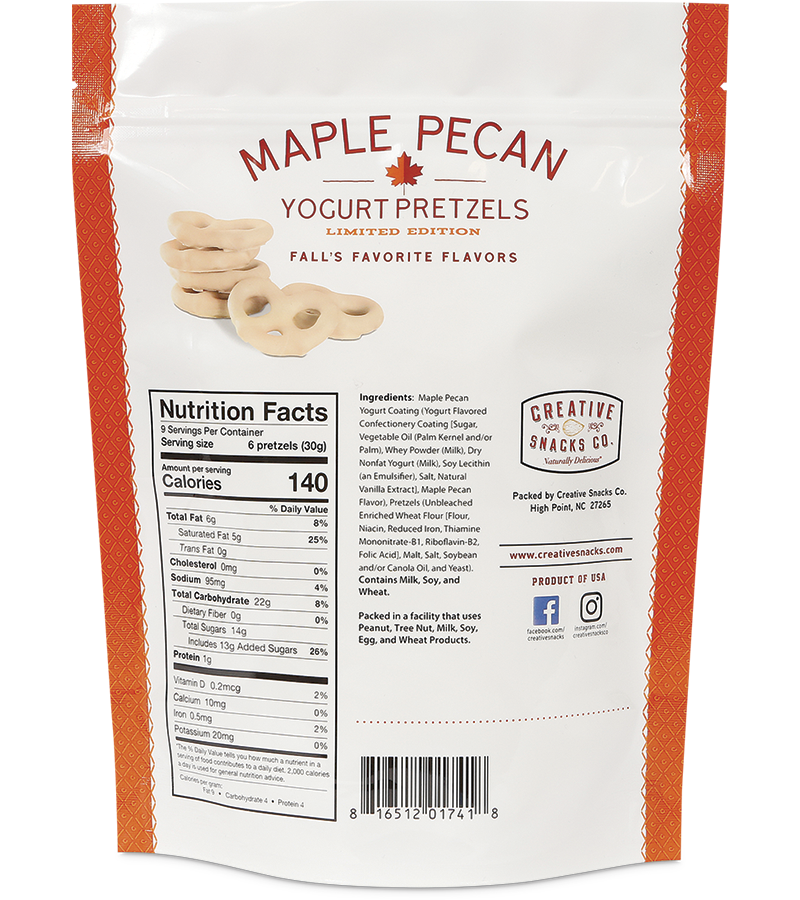 Maple Pecan Yogurt Pretzels