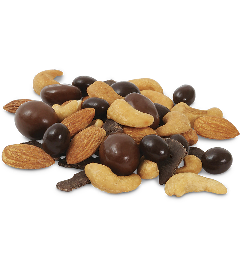 Coffee Shop: Roasted No Salt Cashews, Milk Chocolate Peanuts, Dark Chocolate Espresso Beans, Almonds, Semi-Sweet Chocolate Chunk
