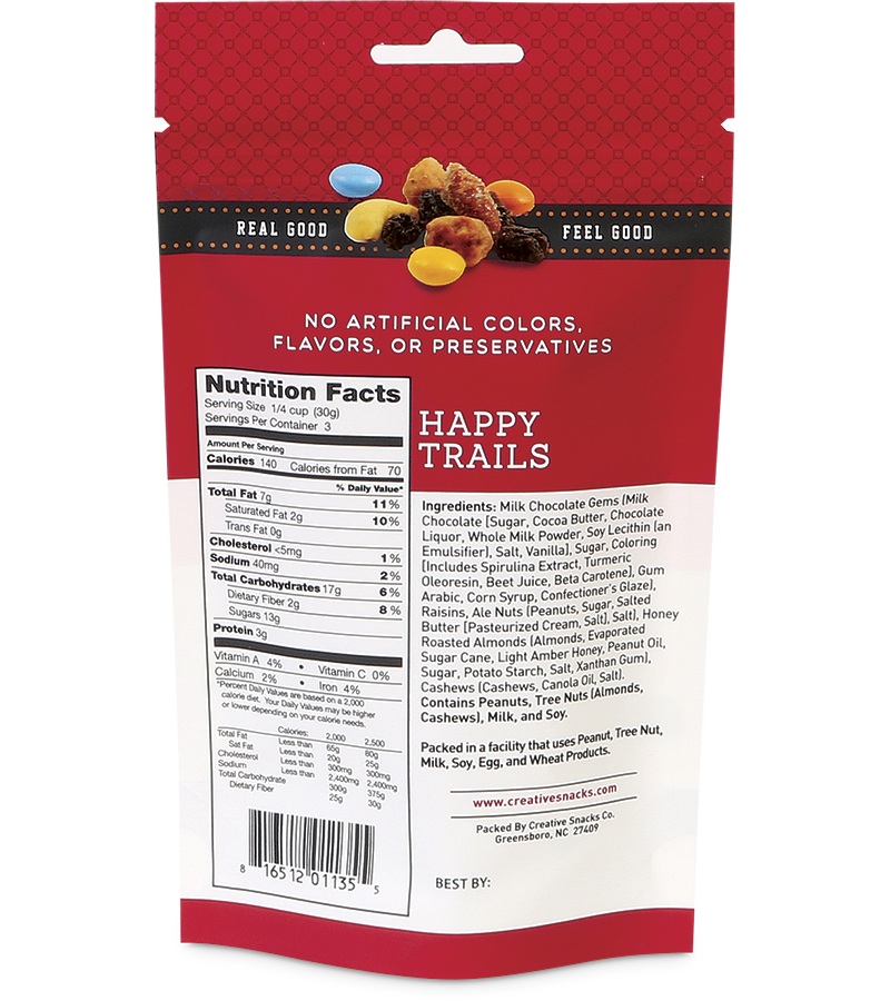 Happy Trails: Milk Chocolate Gems, Raisins, Ale Nuts, Honey Roasted Almonds, Roasted Salted Cashews