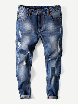 Ripped Jeans - Men Rolled Hem Old Destroyed Jeans
