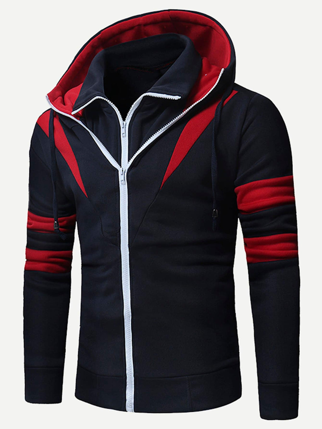 Unique Hoodies - Men Color Block 2 In 1 Hooded Sweatshirt