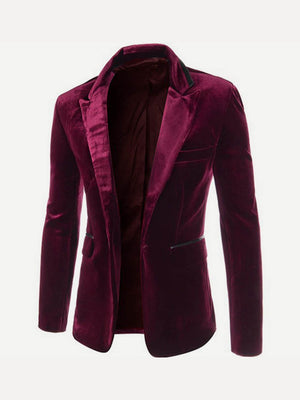 Men's Blazers - Single Button Velvet Blazer