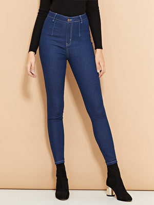Skinny Jeans - High Waist Buttoned Skinny Jeans