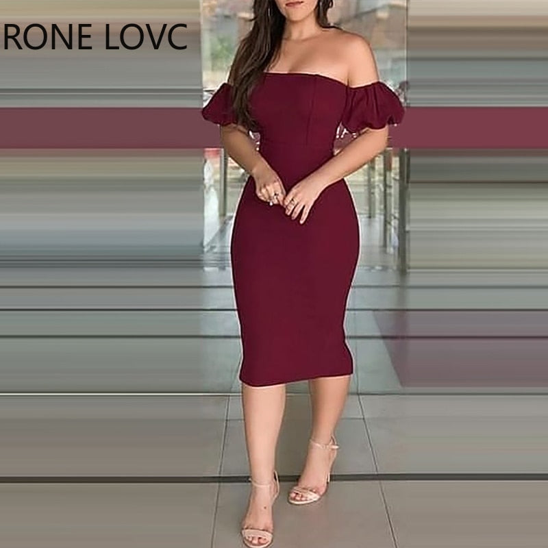 Women Off Shoulder Plain Zipper Design Back Slit Dress Bodycon Dress Party Sexy Dress Elegant Fashion Dress