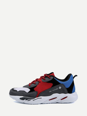 Men's Shoes - Color Block Suede Sneakers