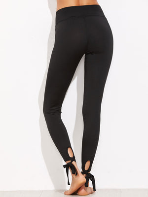 Tights For Women - Lace Up Hem Leggings