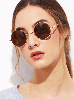 Online Sunglasses - Gold Frame Brown Round Lens Sunglasses
