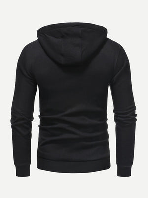 Unique Hoodies - Men Solid Hooded Sweatshirt