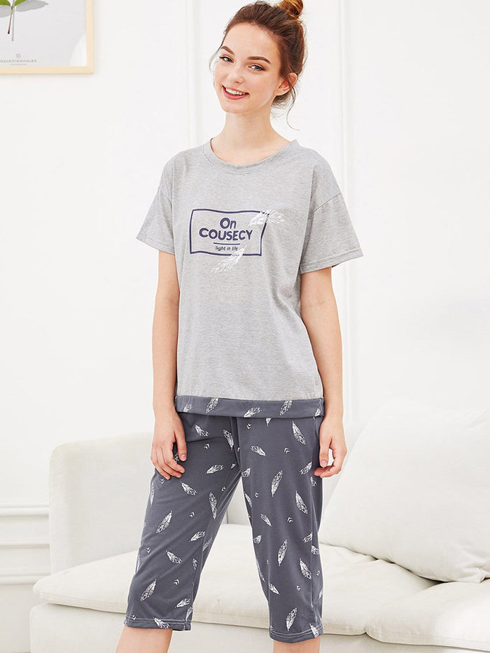 Pajama Set - Feather & Letter Print