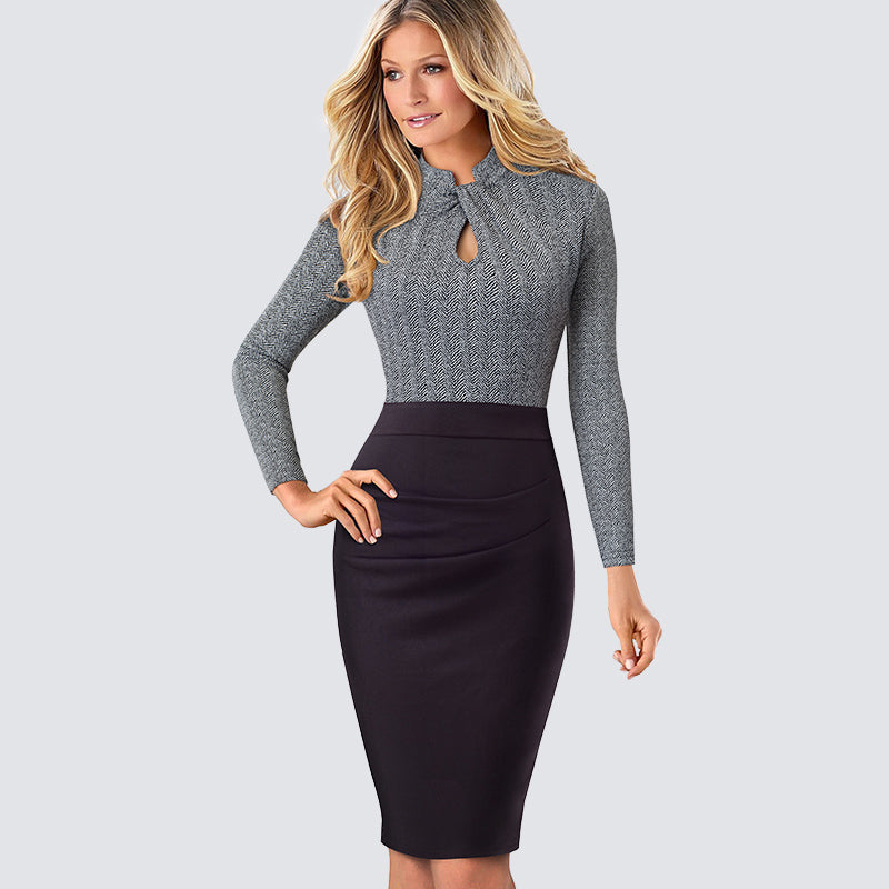 Retro Women Work Office Business Sheath Slim Bodycon Dress Formal Stand Collar With Key Hole Pencil Summer Dress