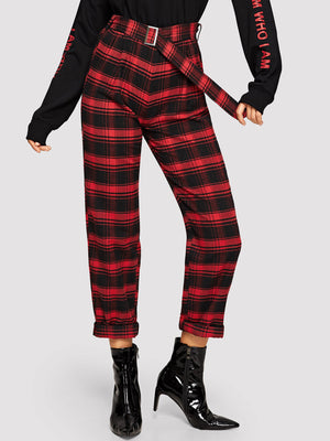 Pants For Women - Self Belted Plaid Pants